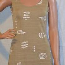 Golden Beige Stretch Fit Tank Mini Dress Size S Off-White Fossil Fish Pattern Photo