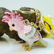Golden Bird Parrot Key Ring Chain Charm Swarovski Crystal Pink Photo