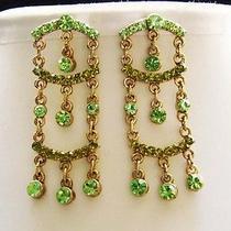 Golden Chandelier Earrings Peridot Swarovski Crystal E2195 Photo