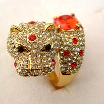 Golden Loepard Ring With Red Swarovski Crystal  Photo