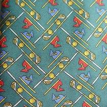Golf Clubs Balls & Flags - Cute Silk Tie - Roxy Brand - 100% Silk - T059 Photo