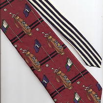 Golfers Necktie Neck Tie Tommy Hilfiger Golf Bag Clubs - Silk Photo