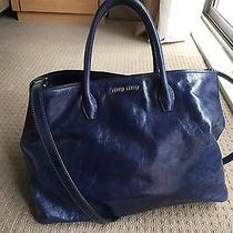 Good Condition Miu Miu Auth Guarantee Vitello Shine Blue Shopping Tote Photo