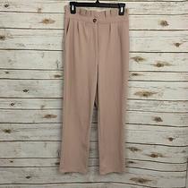 Good Luck Gem Blush Pink Paperbag Waist High Waisted Trouser Pants Size Small Photo