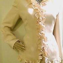 Gorg Carolina Herrera 6 8 Blush Silk Ruffle Peplum Tailor Fit Bride Skirt Suit  Photo