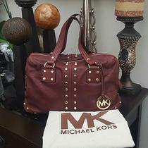 Gorgeo Michael Kors Astor Gold Studded Merlot Leather Satchel Shoulder Bag 398 Photo