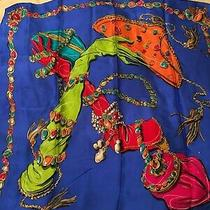Gorgeous Anne Klein for Vera Gloves Purses 100% Silk Scarf Bright Colors Square Photo