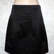 Gorgeous Anthropologie Elevenses Black Dot Embossed Sateen Short Mini Skirt 10 Photo