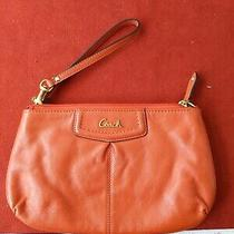Gorgeous Authentic Coach Ashley Orange Leather Wristlet Clutch Euc Photo
