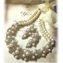 Gorgeous Bib Statement Pearl Swarovski Crystal Necklace Earrings Jewelry Set Photo