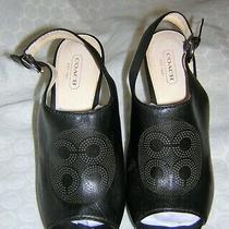 Gorgeous Black Leather Coach High Wedge Heel Back Strap Sandal Shoes/heels 8 Photo