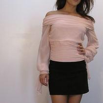 Gorgeous Blush Pink 100% Silk Off Shoulder Corset Waist Blouse 6 S Stunning Photo