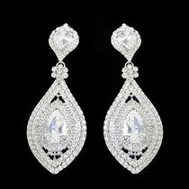 Gorgeous Bridal Drop Pierced Dangle Earrings Clear Swarovski Crystal Zircon  Photo