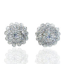 Gorgeous Bridal Flower Stud Earrings Clear Swarovski Crystal Floral Photo