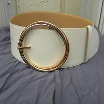 Gorgeous Cartier 3 Ring Buckle Wide White/beige  Leather Trinity Belt Sz 26 Photo