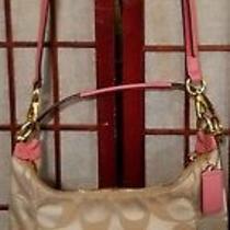 Gorgeous Coach Pink Purse With Gold Chrome Clasp Closure Detachable Strap Photo
