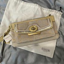 Gorgeous Cream and Gold Coach Signature Clutch 348 Photo
