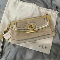 Gorgeous Cream and Gold Coach Signature Clutch 348 Photo