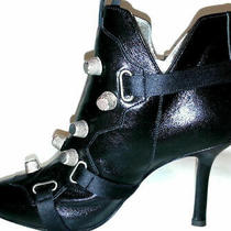 Gorgeous Dsquared2 Black Leather Ankle Boots With Silver Studs Sz-It38/ Us8 Photo