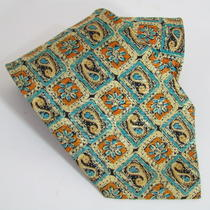 Gorgeous Ermenegildo Zegna Check Paisley Aqua Blue Men's Tie Made in Italy Photo