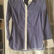 Gorgeous Express Design Studio Pinstripe Career Shirt Women's S Blue  Photo
