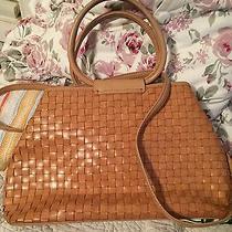 Gorgeous Fossil Handbag Woven Leather  75082 Caramel Cross Body Trendy Photo