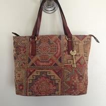 Gorgeous Fossil Tapestry Carpet Bag Chenille Purse Photo