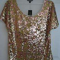 Gorgeous Gold Copper Express Sequin Short Sleeve Top S Nwt New Photo