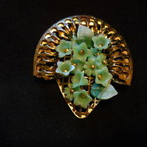 Gorgeous Goldtone Belt Buckle With Aqua Plastic Flowers Photo