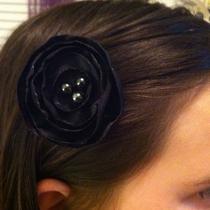 Gorgeous Handmade Alligator Clip Girls / Woman Black Fancy Flower With Beads Photo