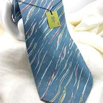 Gorgeous Japanese Men's 100% Silk Tie Aqua Stripe Abstract Japan Nwt 3 3/4