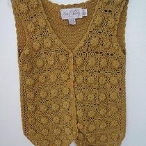Gorgeous Jon Christy All Hand Crocheted Vintage Sweater Vest Size M Mustard Photo