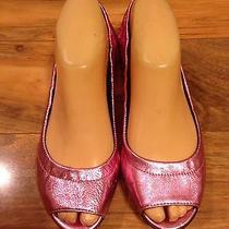 Gorgeous Juicy Couture Metallic Hot Pink Peep Toe Ballet Flats Size 6.5 Nice Photo