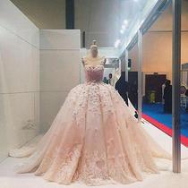 Gorgeous Luxury Blush Wedding Dress Bridal Gown Lace Applique Ball Gown 4 6 8 10 Photo