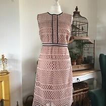 Gorgeous m&s Blush Pink & Navy Lattice Effect Dress Size 10 Ex Cond  Photo