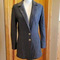 Gorgeous Navy St John Blazer With Enameled Buttons and Feminine Back Accent Size Photo