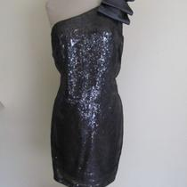 Gorgeous Nwt Aqua Dress Sz 12 One Shoulder Black/silver 188 Photo