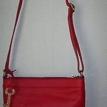 Gorgeous Nwt Fossil Red Leather Gift Crossbody or Shoulder Bag  With Key Charm Photo