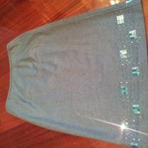 Gorgeous Sigrid Olsen Aqua Sequins Skirt Sz 6 Nwot Photo