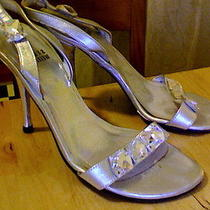 Gorgeous Stuart Weitzman Slingbacks Silver Metallic Crystal Wedding Shoes Photo