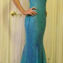 Gorgeous Teal Beaded Evening Dress Photo