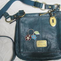 Gorgeous Teal Leather Cargo Crossbody Handbag & Flower Key Ring - by Fossil  Photo