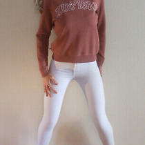 Gorgeous Tommy Hilfiger Blush & White Logo Fitted Sweater Jumper Xs Uk 6 8 Photo