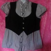 Gorgeous Torrid 1920s Carnival Black White Stripes Top Dress Shirt Blouse 1xl Photo