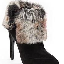 Gorgeous via Spiga 8.5 M Yetta Ankle Boot Black Suede & Faux Fur Platform Photo