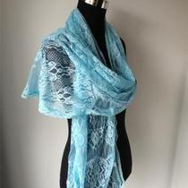Gorgeous Vintage Aqua Blue Floral Lace Long Ladies Scarf Wrap New In Photo