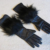 Gorgeous Vintage Fendi Designer Vintage Long Leather Gloves With Black Fox Trim Photo