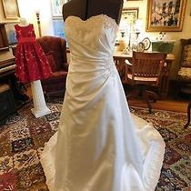 Gorgeous White David's Bridal Wedding Gown Satin With Blush Lace Lace-Up Size 8 Photo