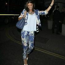 Gorgeous Zara Floral Open Front Blazer Oriental Silky Cropped Lucy Mecklenburgh Photo