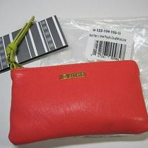 Gorjana Mott Small Pouch Pastel Coral White Lime Lambskin Leather Coin Purse Nwt Photo